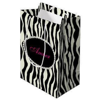 Sacola Para Presentes Média Pérolas do impressão da zebra & monograma