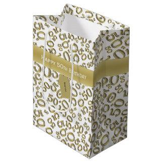 Sacola Para Presentes Média Personalize:  50th ouro feliz do