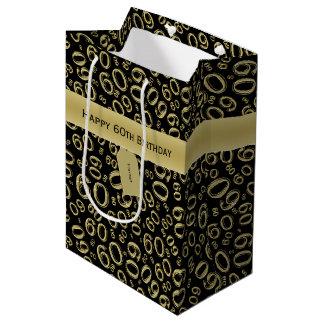 Sacola Para Presentes Média Personalize:  60th ouro feliz do aniversário/preto