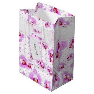 Sacola Para Presentes Média Personalize:  Orquídea floral do roxo da