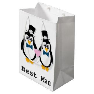 Sacola Para Presentes Média Pinguins Sr. & Sr. saco do presente de casamento