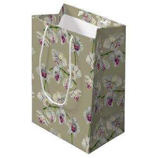 Sacola Para Presentes Média Pintura da aguarela da orquídea