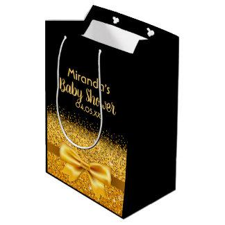 Sacola Para Presentes Média Preto glamoroso do chá de fraldas com arco dourado