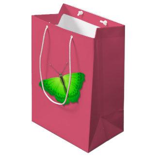 Sacola Para Presentes Média Saco cor-de-rosa do presente com borboleta verde