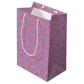 Sacola Para Presentes Média Saco cor-de-rosa & roxo do impressão floral