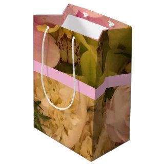 Sacola Para Presentes Média Saco do presente com orquídeas e peônias - meio,
