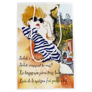 Sacola Para Presentes Média Saco do presente da ilustração de Paris