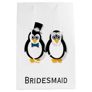 Sacola Para Presentes Média Saco do presente de casamento dos pinguins