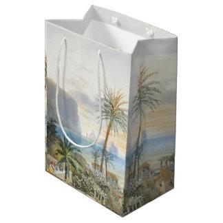 Sacola Para Presentes Média Saco do presente do mar das palmeiras do oceano
