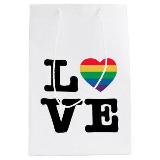 Sacola Para Presentes Média Saco do presente do orgulho do coração do amor