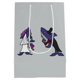 Sacola Para Presentes Média Saco engraçado do presente dos noivos do tubarão