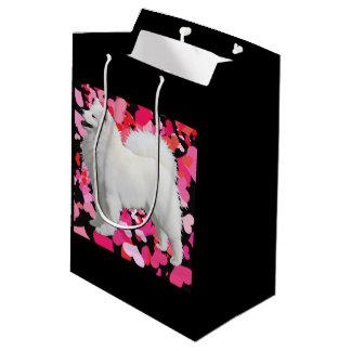 Sacola Para Presentes Média Saco feito sob encomenda do presente do Samoyed -