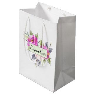 Sacola Para Presentes Média Saco floral personalizado da aguarela conhecida