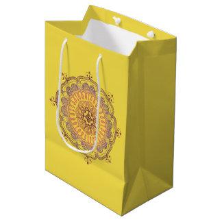 Sacola Para Presentes Média Saco médio do favor da mandala elegante e colorida