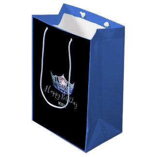 Sacola Para Presentes Média Saco-Meio azul do presente do 2-Tom da coroa da