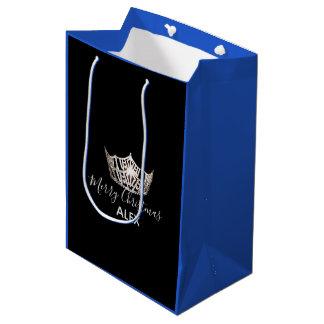 Sacola Para Presentes Média Saco-Natal azul do presente da coroa de prata da