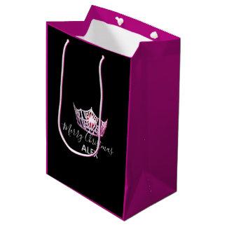 Sacola Para Presentes Média Saco-Natal fúcsia do presente da coroa cor-de-rosa