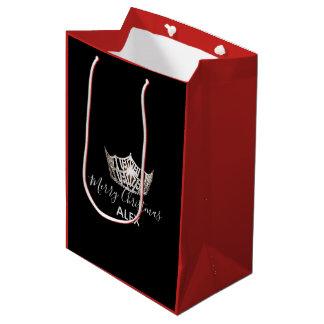 Sacola Para Presentes Média Saco-Natal vermelho do presente da coroa de prata