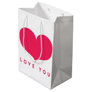 Sacola Para Presentes Média Saco romântico do presente do coração cor-de-rosa