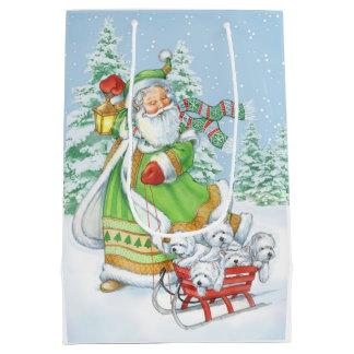 "Sacola Para Presentes Média Saco ""ruído alegre"" do presente do Natal de Westie"