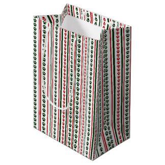 Sacola Para Presentes Média Saco vermelho e verde do presente da listra do