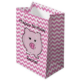 Sacola Para Presentes Média Sadie o ~ cor-de-rosa Kawaii feminino bonito do
