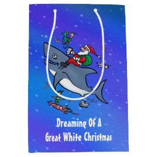 Sacola Para Presentes Média Sonho de um grande costume do Natal do tubarão