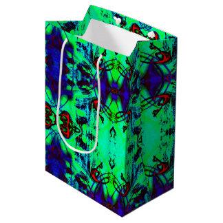 Sacola Para Presentes Média Teste padrão abstrato de néon verde e do azul