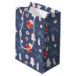 Sacola Para Presentes Média Teste padrão azul lunático dos bichos do Natal