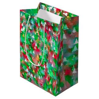 Sacola Para Presentes Média Teste padrão da aguarela da árvore de Natal