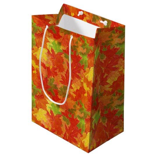 Sacola Para Presentes Média Teste padrão das folhas de outono