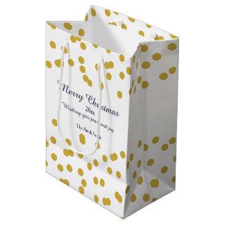 Sacola Para Presentes Média Teste padrão do Natal dos confetes do ouro com