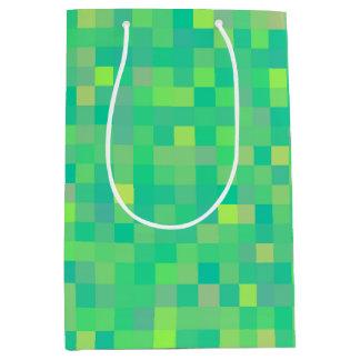 Sacola Para Presentes Média Teste padrão multicolorido verde na moda à moda do