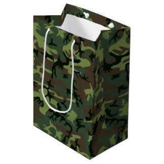 Sacola Para Presentes Média Teste padrão verde de Camo Brown da camuflagem