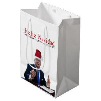 Sacola Para Presentes Média Trunfo. Feliz Navidad, México está indo pagar por