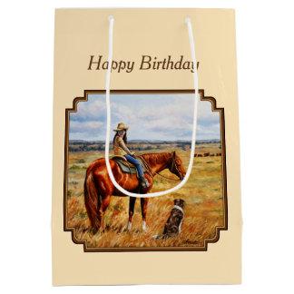 Sacola Para Presentes Média Vaqueira pequena no amarelo do cavalo do gado