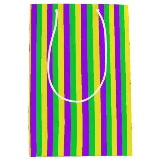 Sacola Para Presentes Média Verde do carnaval, amarelo, roxo listrado