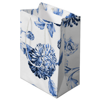 Sacola Para Presentes Média Vintage azul Toile floral botânico da pervinca