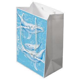 Sacola Para Presentes Média Vintage da família das baleias azuis