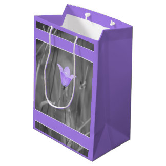 Sacola Para Presentes Média Wildflower azul violeta do Bluebell (Harebell)
