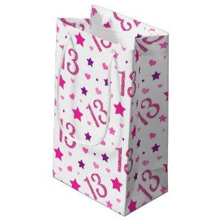 Sacola Para Presentes Pequena 13o Brilho roxo do rosa do saco do presente de