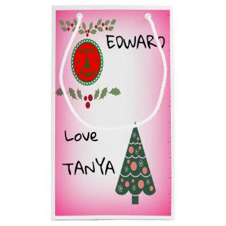 Sacola Para Presentes Pequena A árvore de Natal do azevinho dos cumprimentos das