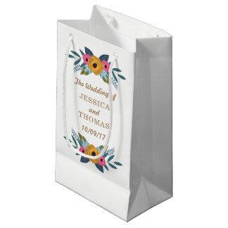 Sacola Para Presentes Pequena A coleção branca do casamento da grinalda floral