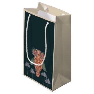 Sacola Para Presentes Pequena A coruja da sabedoria e das flores