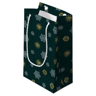 Sacola Para Presentes Pequena A folha de ouro Glam e o presente branco dos