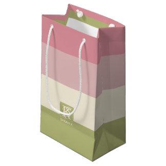 Sacola Para Presentes Pequena A paleta de cores do verde do rosa do creme listra