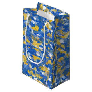 Sacola Para Presentes Pequena A pintura azul, amarela e branca espirra 8200