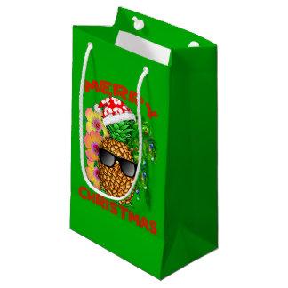 Sacola Para Presentes Pequena Abacaxi do papai noel do Feliz Natal