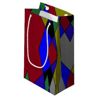 Sacola Para Presentes Pequena Abstrato colorido retro do diamante