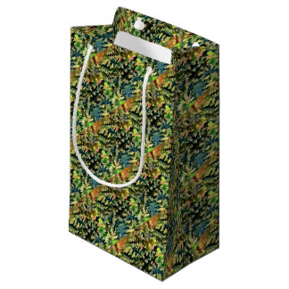 Sacola Para Presentes Pequena Abstrato da folha no verde, no pêssego e no azul